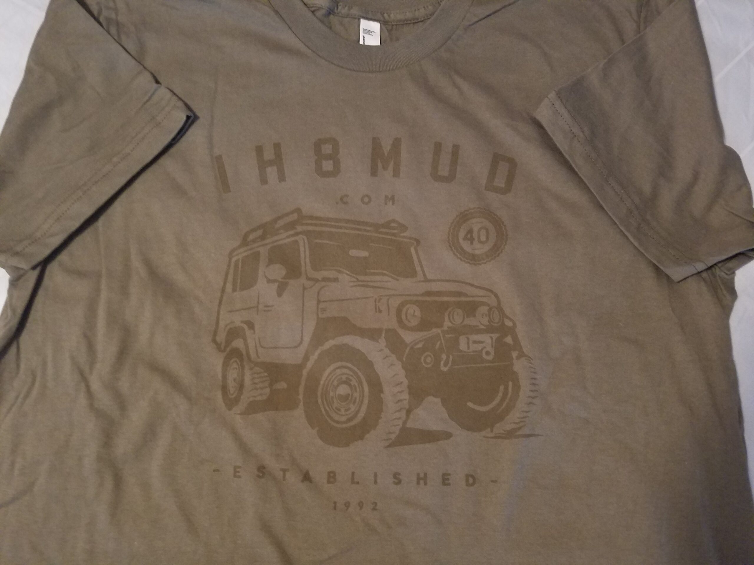 Brown IH8MUD FJ40 logo tee